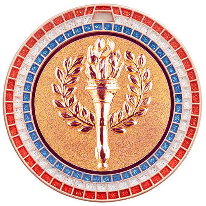 70MM VICTORY TORCH RWB GEM MEDAL - BRONZE